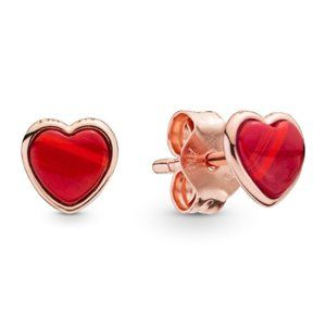 Pandora Red Murano Glass Heart Stud Earrings